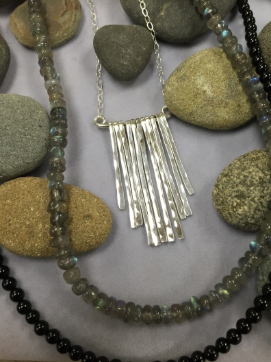Silver Waterfall Necklace with Beads