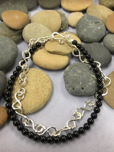 Silver Links Bracelet with Beads